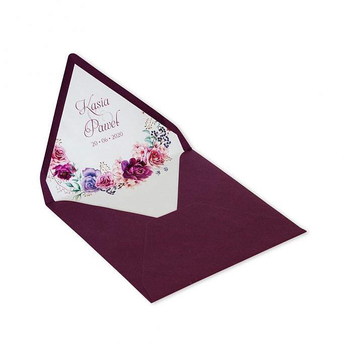 koperta nadruk wewnątrz kwiaty personalizacja
