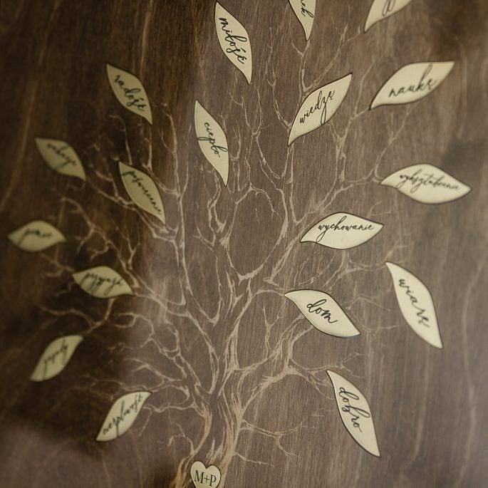 podziękowanie dla rodziców wesele drzewo grawerowane liście