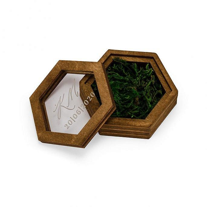 pudełko na obrączki ślubne mech sześciokąt zamykane