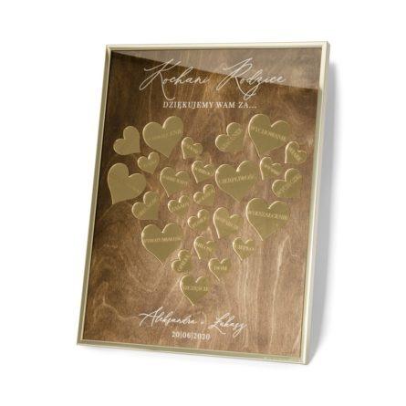rama podziękowanie złote lustro błyszczące grawerowane dla rodziców na wesele