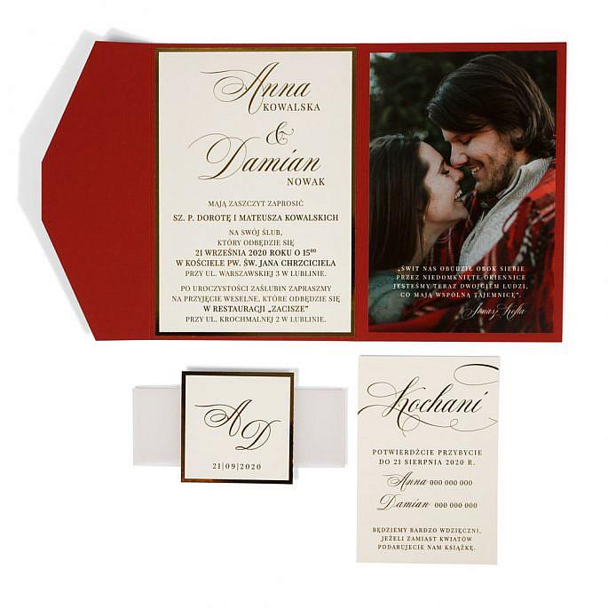 zaproszenia ślubne w folderze ze zdjęciem