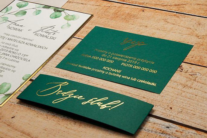 zaproszenia zielone złocenie