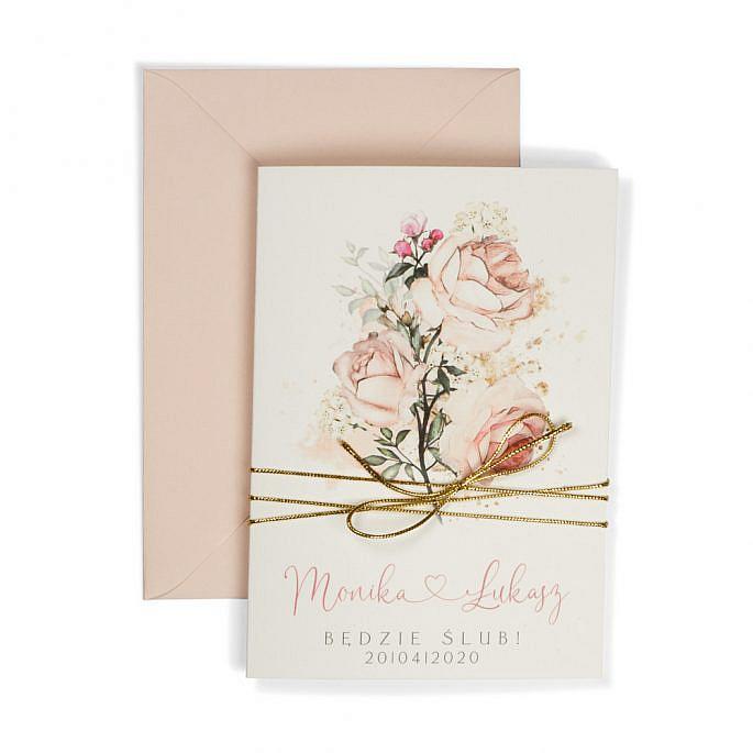 zaproszenia ślubne na papierze bawełnianym z różami