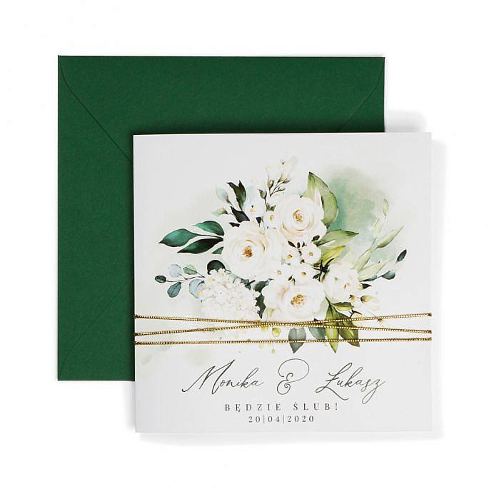 zaproszenia składane na trzy zielone