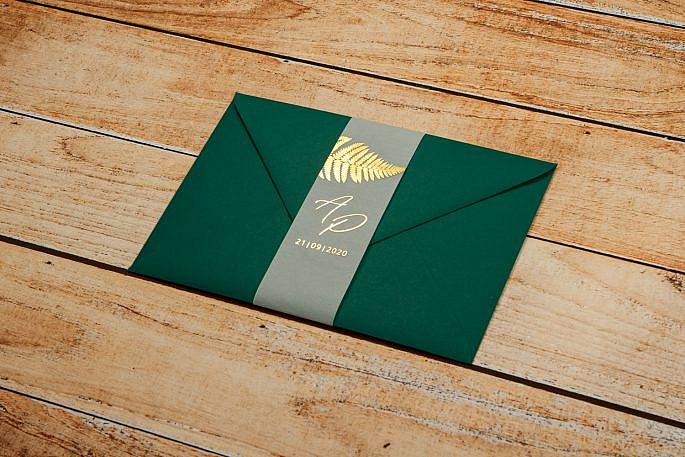 zaproszenia zielone ze złoceniem