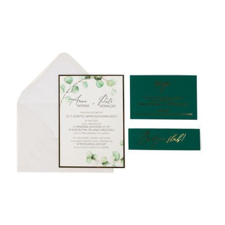 zaproszenie ślubne z elementami zielonego papieru i złoconym tekstem