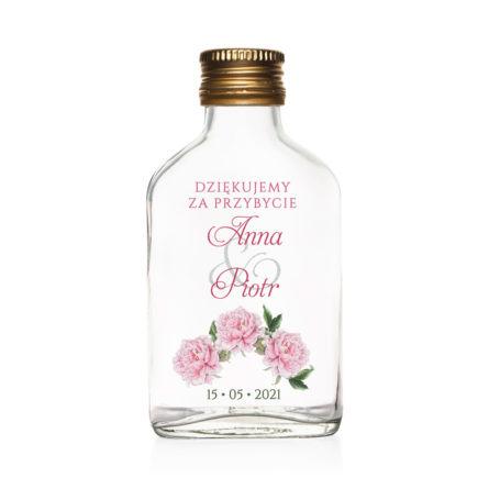 Butelki weselne z nadrukiem kwiatów Piwonii w3