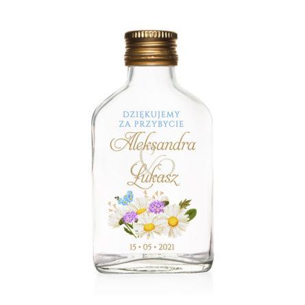 Butelki weselne znadrukiem kwiatów polnych w2