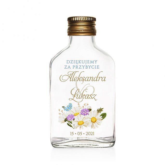 Butelki weselne z nadrukiem kwiatów polnych w2