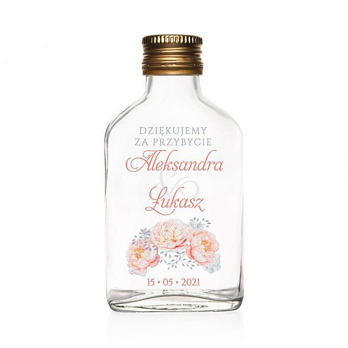 Butelki weselne z nadrukiem kwiatów piwonii w10