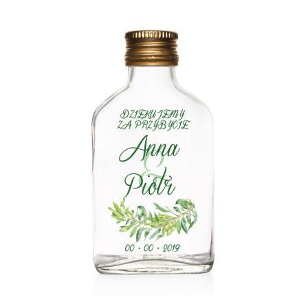 Butelki weselne znadrukiem gałązek oliwnych