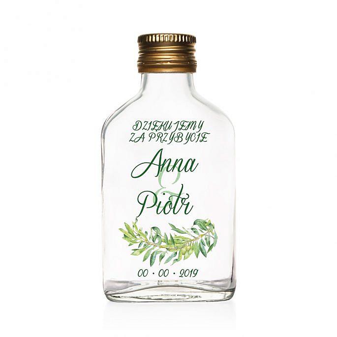 Butelki weselne z nadrukiem gałązek oliwnych