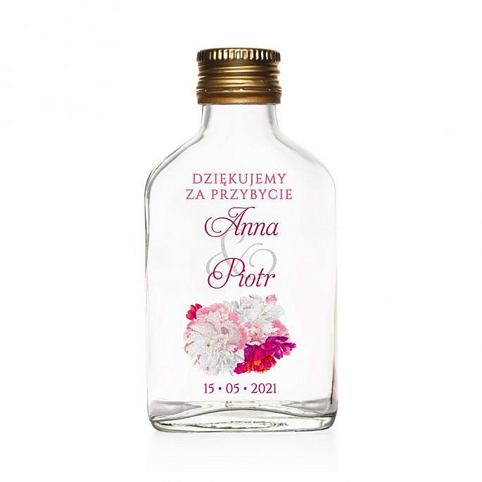 Butelki weselne z nadrukiem kwiatów piwonii