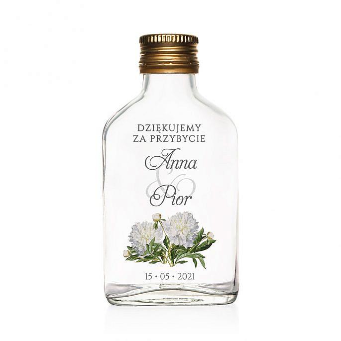 Butelki weselne z nadrukiem kwiatów piwonii w4