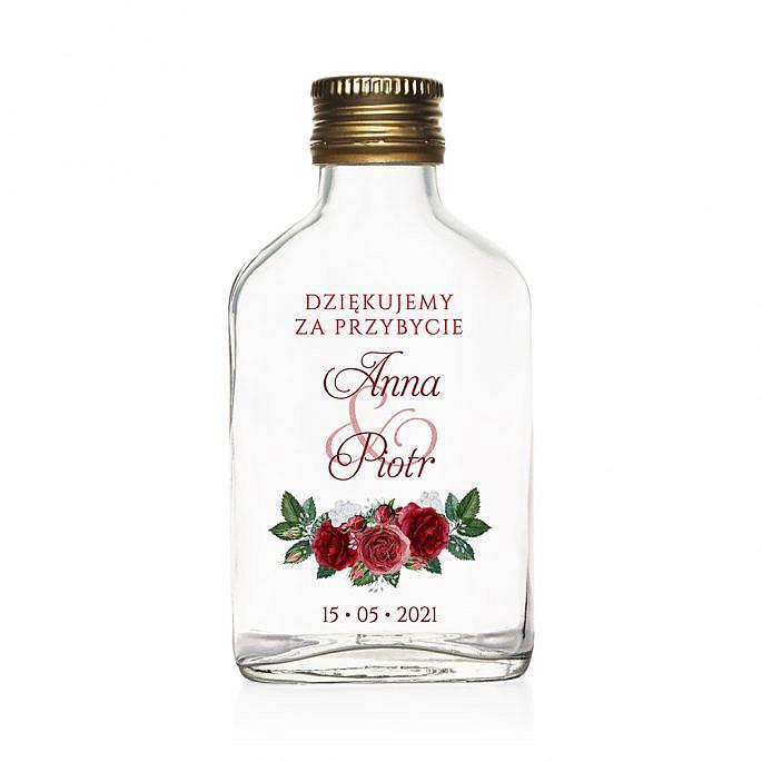 buteleczki weselne 100 ml z nadrukiem kwiatów róży