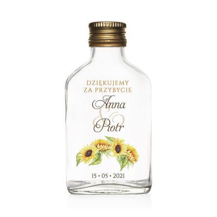 Butelki weselne znadrukiem kwiatów słonecznika