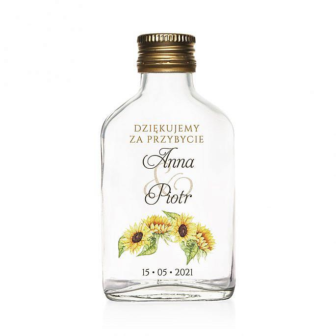 Butelki weselne z nadrukiem kwiatów słonecznika