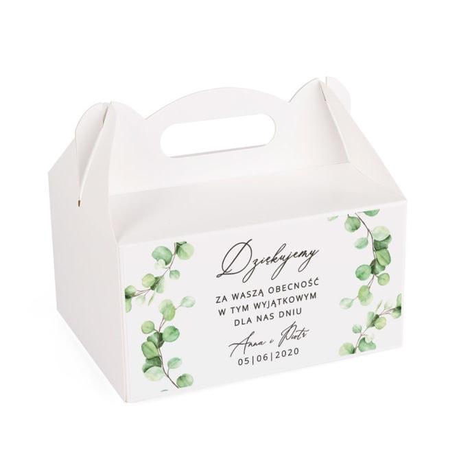 Pudełko na słodkości weselne z listkami eukaliptusa
