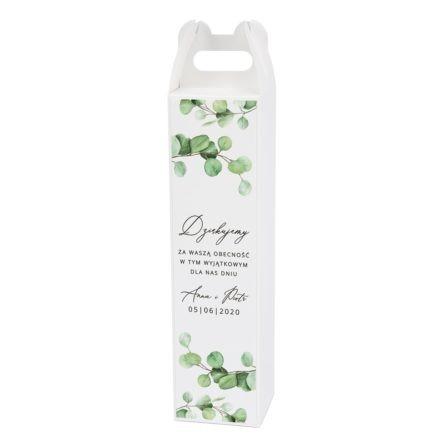 Podziękowanie dla gości weselnych z zielonymi listkami eukaliptusa