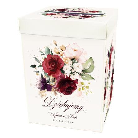 weselne pudełko na koperty z nadrukiem kwiatów