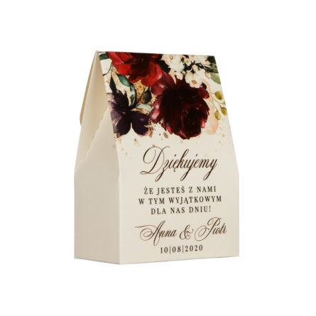 kremowe pudełeczko na migdały dla gości weselnych
