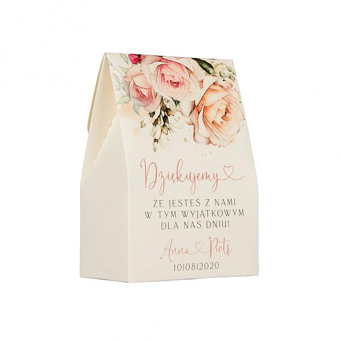 Pudełko na cukierki weselne na kremowym papierze