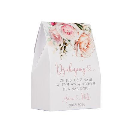 pudełeczka na słodkości dla gości weselnych z grafiką różowych kwiatów