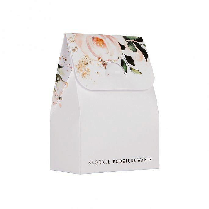 białe pudełeczko dla gości weselnych z nadrukiem kwiatów