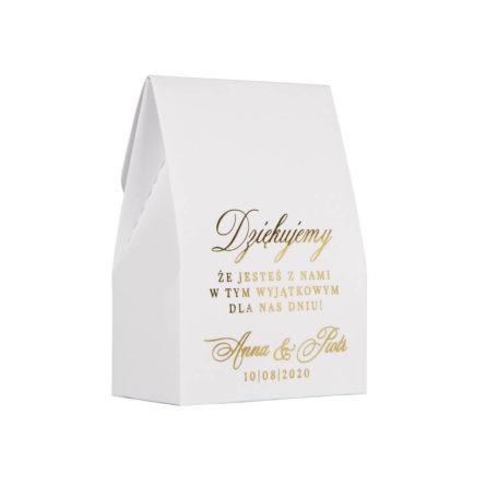 podziękowanie dla gości weselnych - pudełeczko ze złoconymi napisami