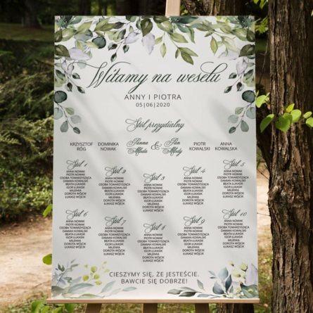 plan stołów weselnych z nadrukiem kwiatów