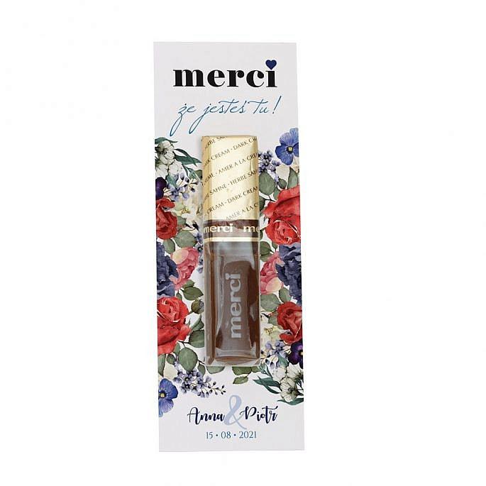 podziękowanie z merci dla gości weselnych model flowery w1