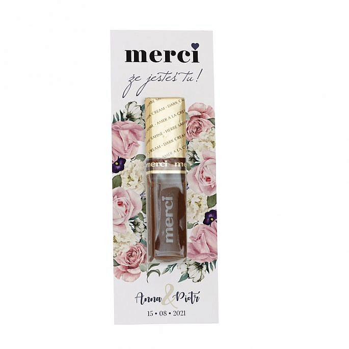 prezent dla gości weselnych z czekoladką merci