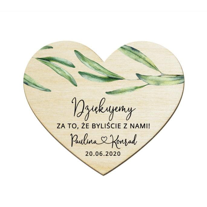 Drewniane serce magnes podziękowanie dla gości weselnych z motywem eukaliptusa