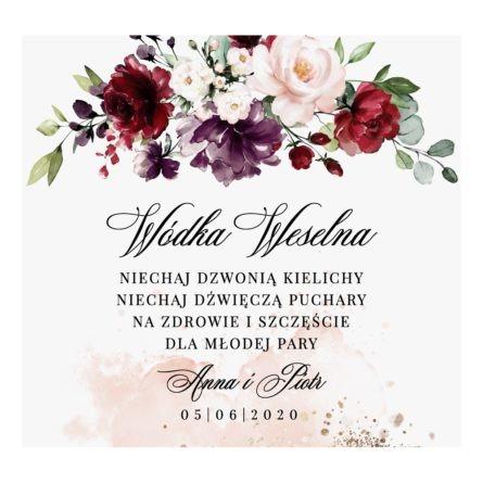 Naklejka na wódkę weselną z bordowymi kwiatami