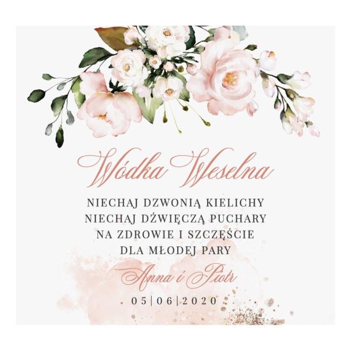 Naklejka na wódkę weselną alkohol weselny z łososiowymi kwiatami