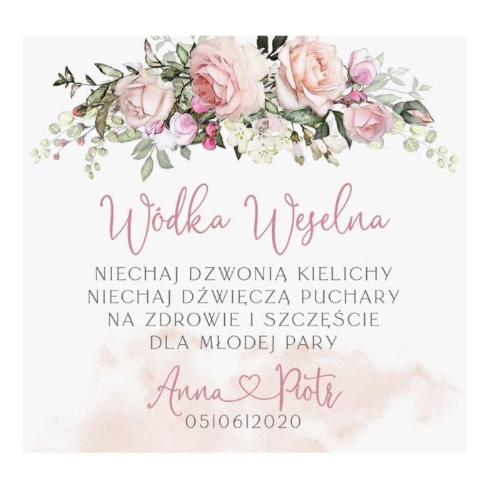 Naklejka na wódkę weselną z grafiką różowych róż