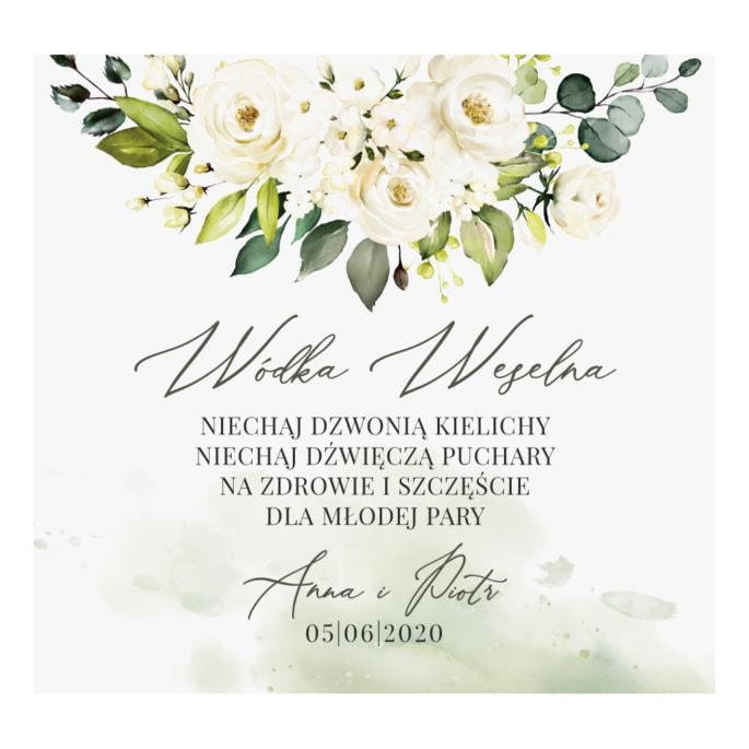 Naklejka na wódkę weselną z białymi kwiatami i zielonymi gałązkami eukaliptusa