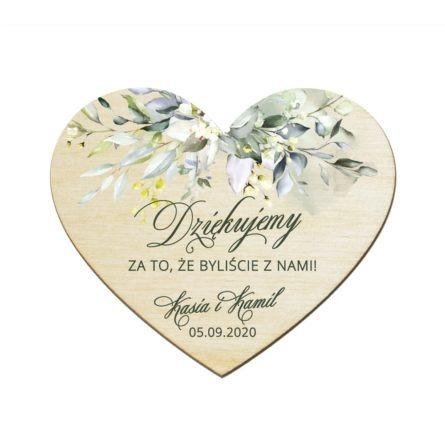 Podziękowanie dla gości weselnych drewniany magnes z motywem z motywem zielonych gałązek