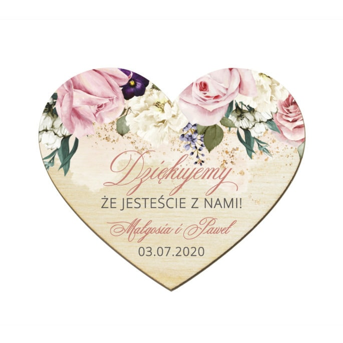 Podziękowanie dla gości weselnych magnes drewniany z różowymi kwiatami