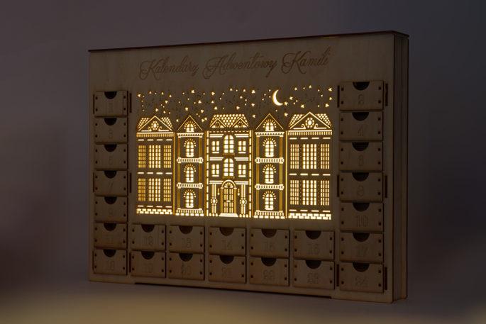 Kalendarz adwentowy kamieniczki nocą księżyc led dekoracja świąteczna