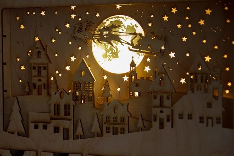 kalendarz adwentowy miasto nocą lampa led ozdoba świąteczna ozdoby