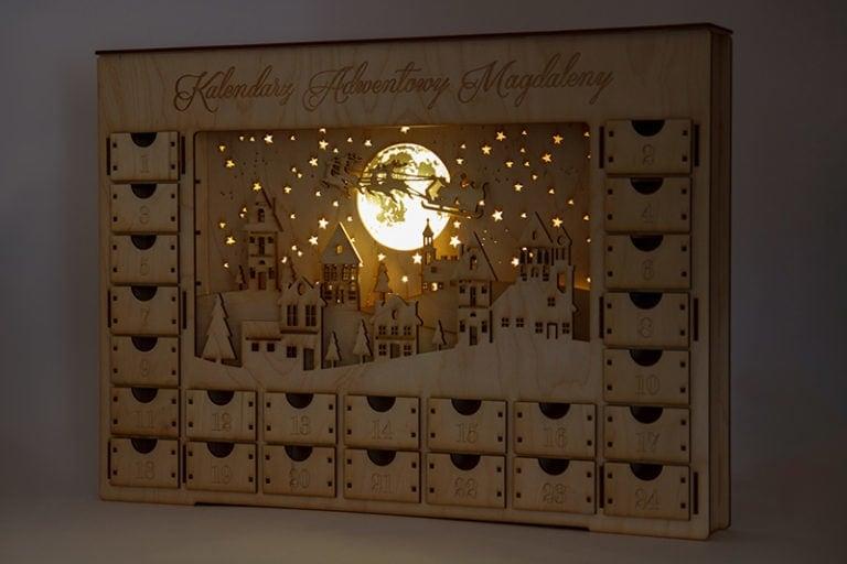 kalendarz adwentowy miasto nocą lampa led