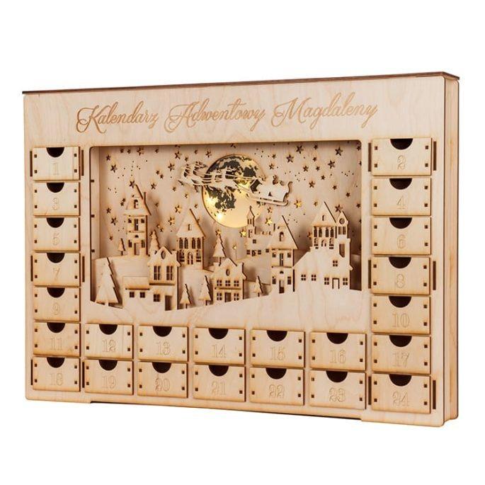 Kalendarz adwentowy drewniany ze sklejki podświetlany led lampion