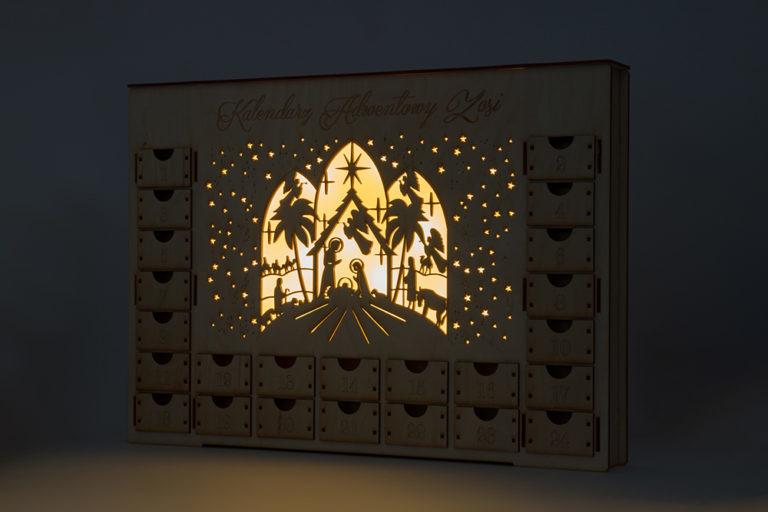 Kalendarz adwentowy lampka led podświetlany dekoracja świąteczna ozdoba