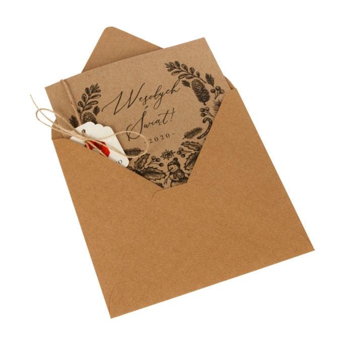 kartka świąteczna ekologiczna z kopertą