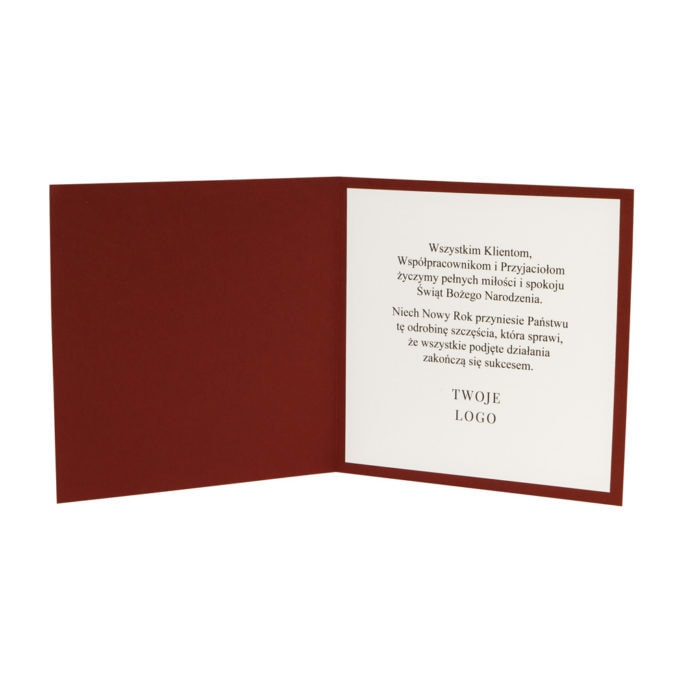 Kartka świąteczna w kolorowej okładce biały środek z tekstem