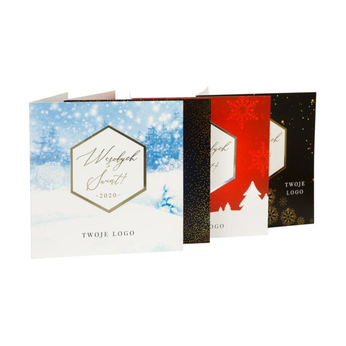 kartki świąteczne firmowe ze złoceniem i srebrzeniem