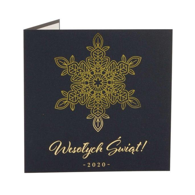 kartka świąteczna granatowa złocona śnieżynka