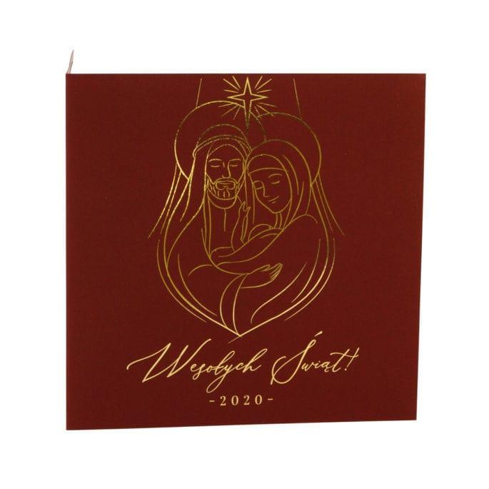 kartka świąteczna bordowa złocona święta rodzina