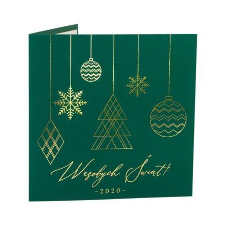 Kartka świąteczna zielona okładka zezłoconymi bombkami